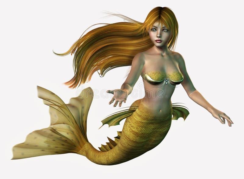 Gold Mermaid stock illustration