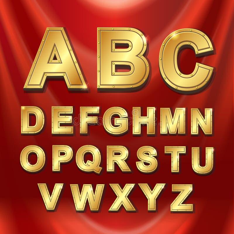 Gold metal alphabet letters set vector stock illustration