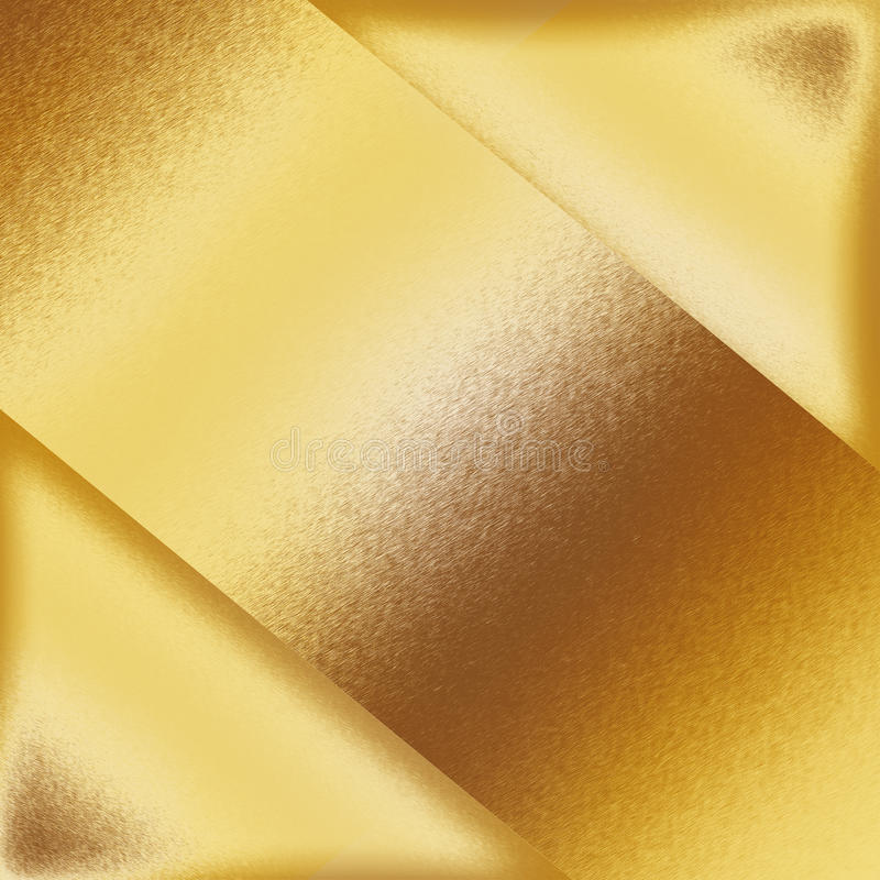 Gold metal background texture, metal plate shapes as abstract frame stock illustration
