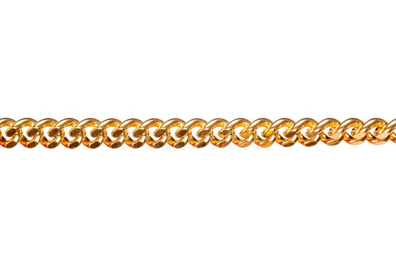 Gold metal chain closeup isolated on white stock photos