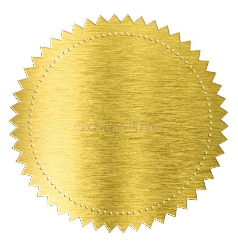 Gold metal foil sticker seal label isolated with. Gold sticker seal label isolated with clipping path included stock images