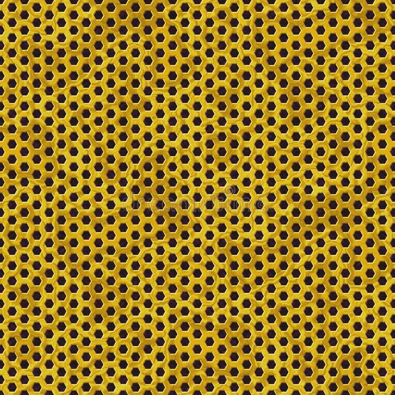 Gold metal perforated sheet seamless pattern texture background with honeycomb hexagon royalty free illustration