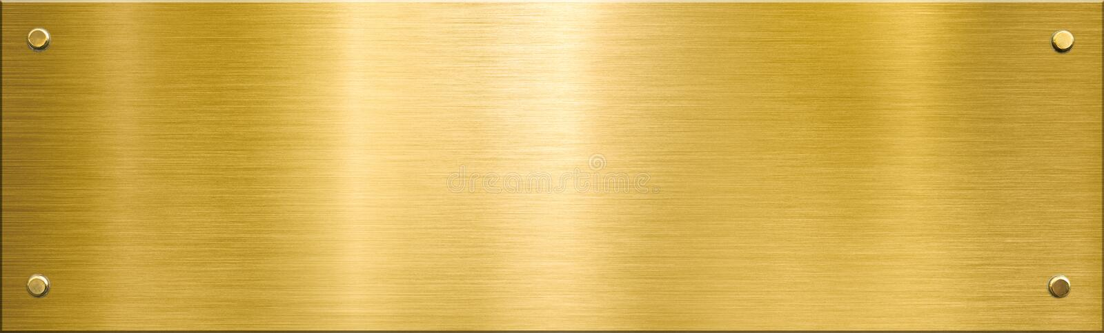 Gold metal plaque or nameboard with rivets background stock photo