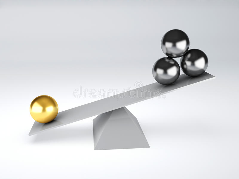Gold And Metal Spheres In White Seesaw. Balance Concept Stock Illustration