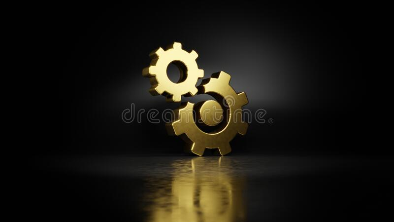 Gold metal symbol of cogwheel 3D rendering with blurry reflection on floor with dark background. Gold metal symbol of cogwheel covers bigger cogwheel 3D stock illustration