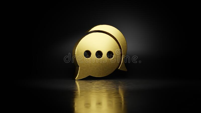 Gold metal symbol of two rounded chat bubbles 3D rendering with blurry reflection on floor with dark background. Gold metal symbol of two rounded chat bubbles royalty free illustration