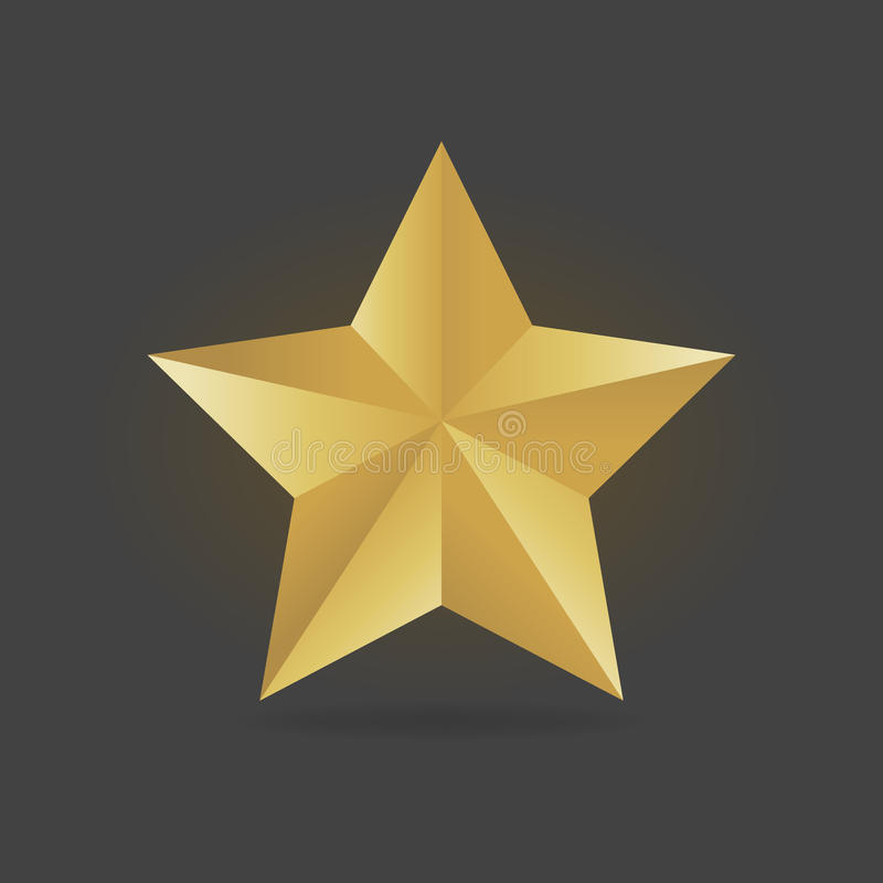 Gold metall star vector illustration. Award 3d shape.  royalty free illustration