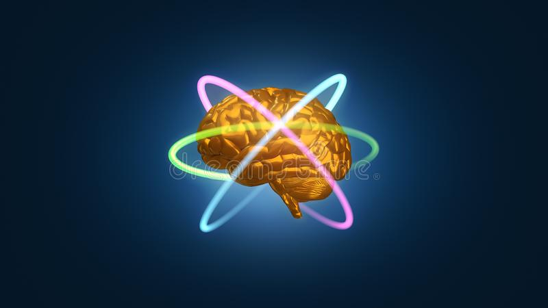 Gold metallic brain with atomic electron paths in orbit - 3D rendered illustration. A gold metal brain model surrounded by electrons denoting atomic energy and stock illustration