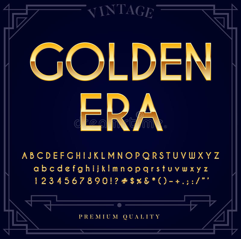 Gold Metallic Font Set. Letters, Numbers and Special Characters stock illustration