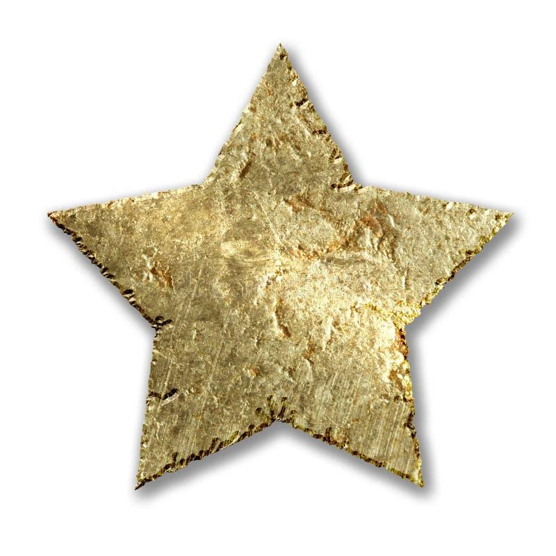 Gold metallic grunge star. Isolated on white background stock image
