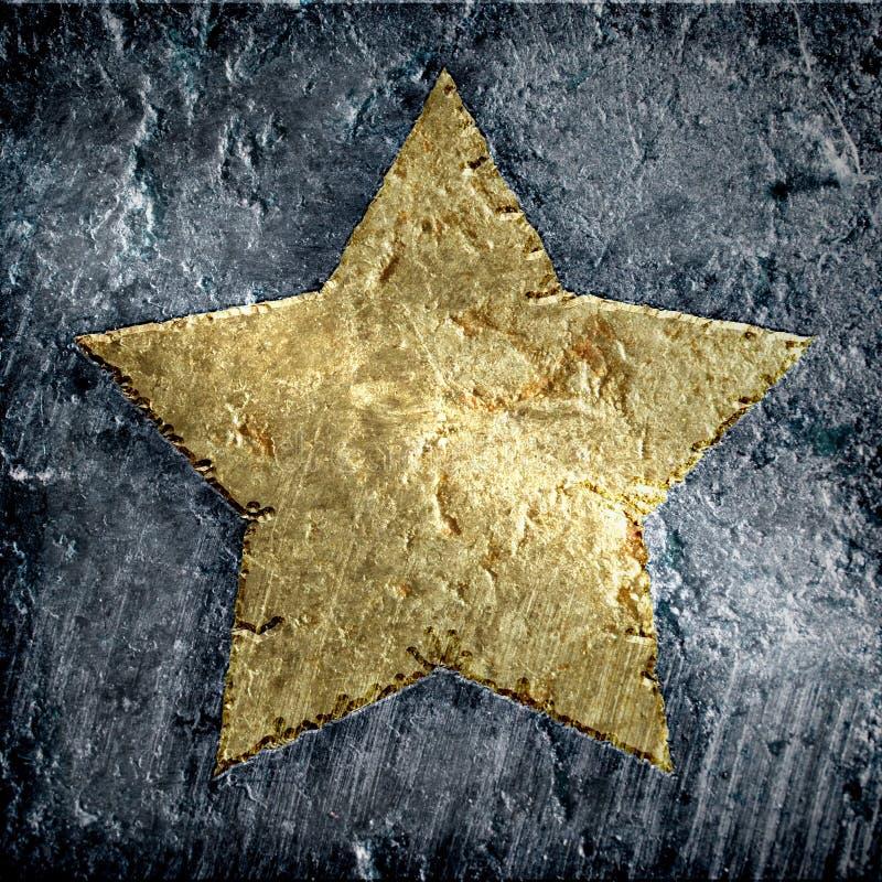 Gold metallic grunge star stock illustration