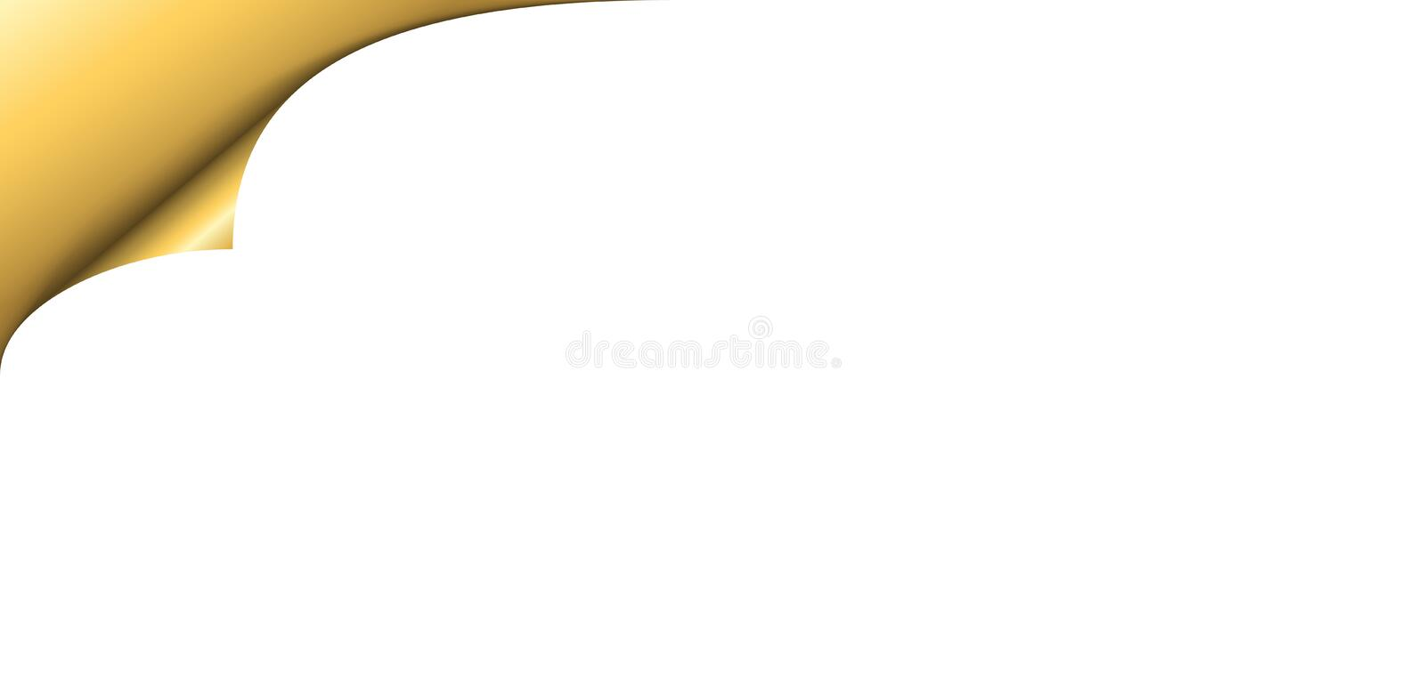 Page corner turn. Gold metallic paper corner with shadow on white background. Golden turn empty sticker. Curl note label. Template curly edge sheet document royalty free illustration