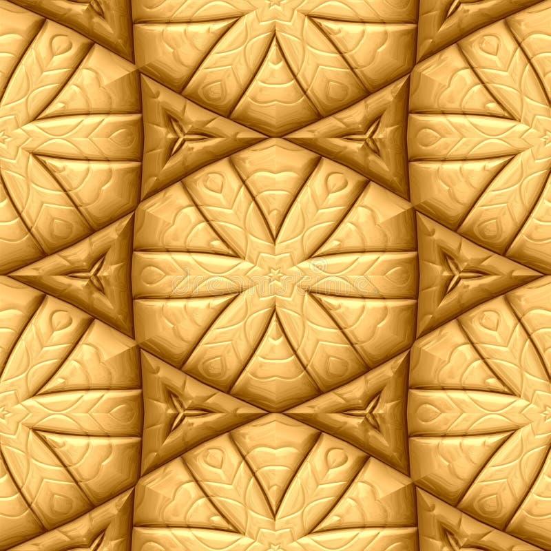 Gold metallic seamless background star and hexagon shape vector illustration