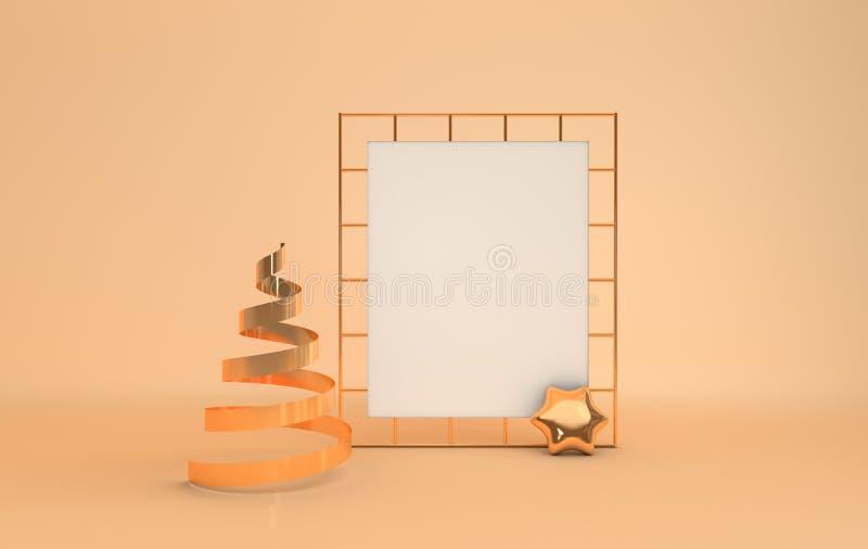 Gold metallic xmas tree, white paper on golden grid, xmas decorative star, pastel beige studio room. Shiny ribbon. Illustration f royalty free illustration