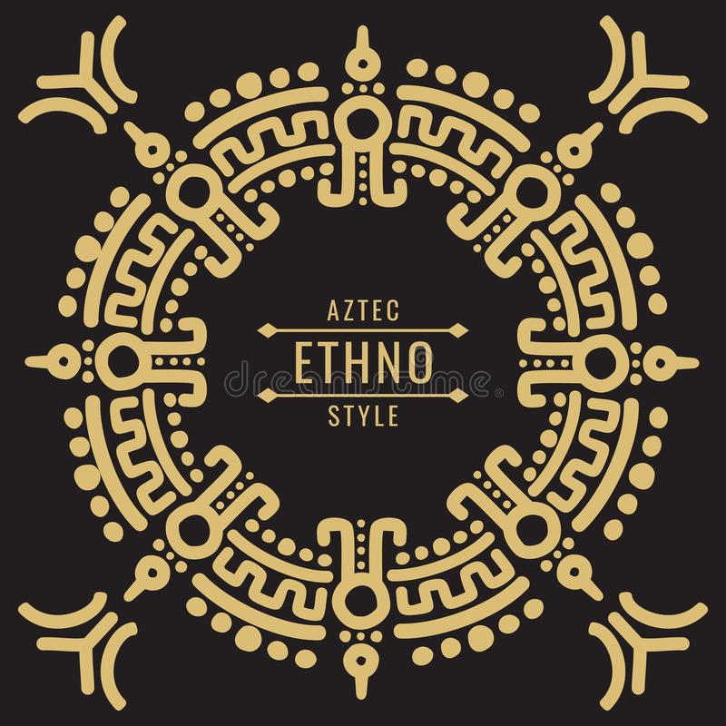 Gold mexican tribal frame design - ethno atzec stock illustration