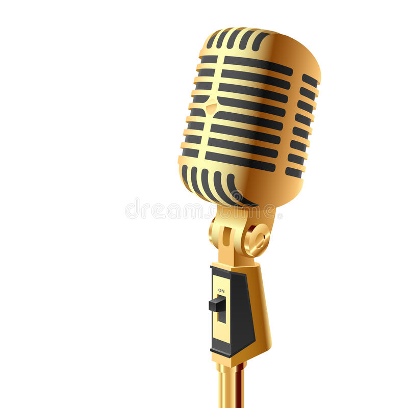 Gold microphone. Vector illustration of a retro microphone. Detailed portrayal vector illustration