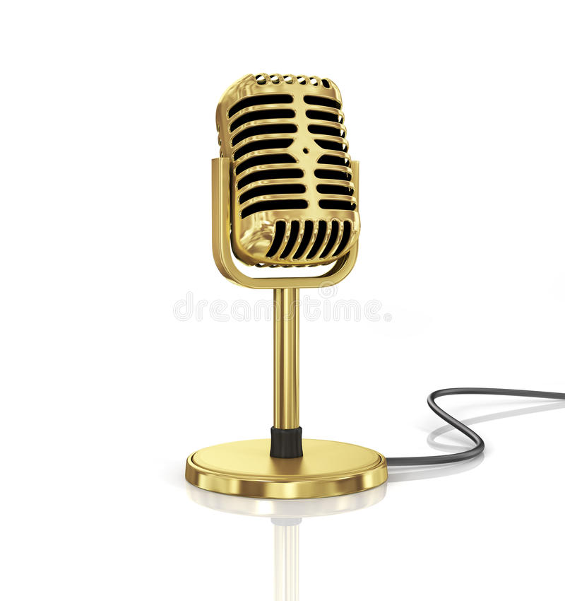 Gold Microphone. Isolated on the white background. Speaker concept stock illustration