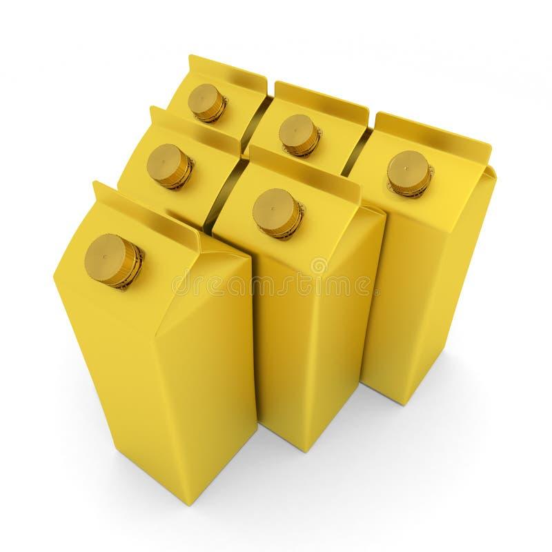 Gold Milk Carton 3D illustration stock illustration