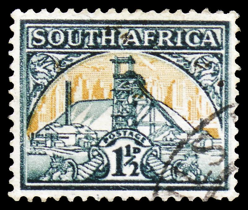 Gold Mine, Definitives serie, circa 1936. MOSCOW, RUSSIA - MARCH 30, 2019: A stamp printed in South Africa shows Gold Mine, Definitives serie, circa 1936 royalty free stock images