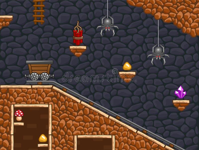 Gold mine game background stock illustration