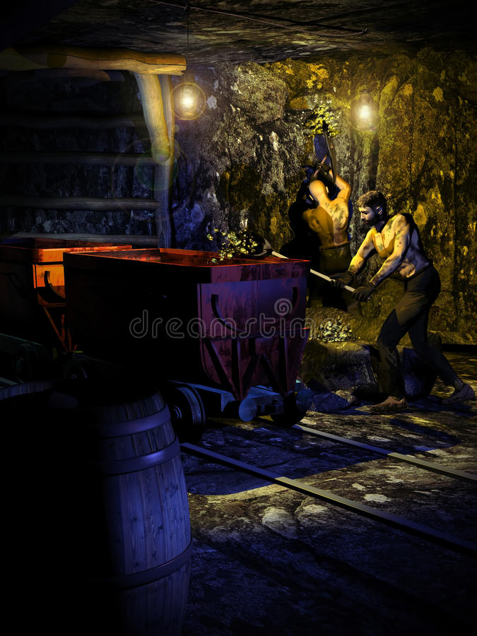 The gold mine. Interior of a gold mine, where two men are digging the rock and removing the gold out of it stock illustration
