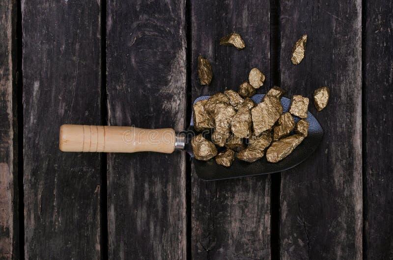 Gold mine. Gold miner. Golden ore in a shovel. Gold ore nuggets in shovel on old adventurer table. Goldminer Treasure hunter concept stock photography
