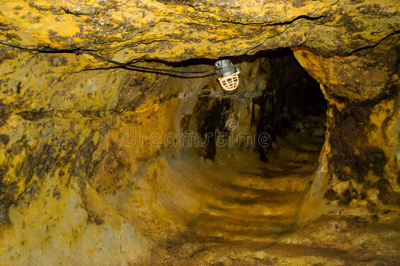 Gold mine tunnel stock images