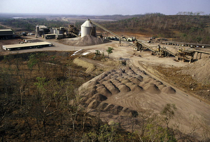 Gold Mining. Elevated view of Gold Mining processing plant royalty free stock image