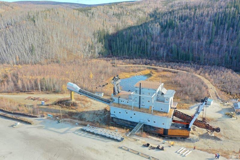 Dredge No. 4. Gold Mining Dredge No. 4 at Bonanza Creek near Dawson City in the Yukon in Canada stock photography