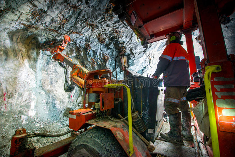 Gold mining underground royalty free stock photos