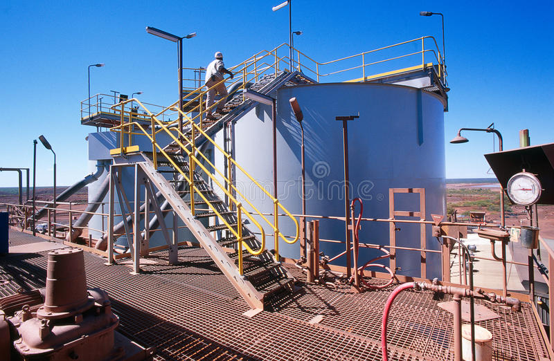 Gold Mining. View of Gold Mining processing plant in the desert of Australia stock images