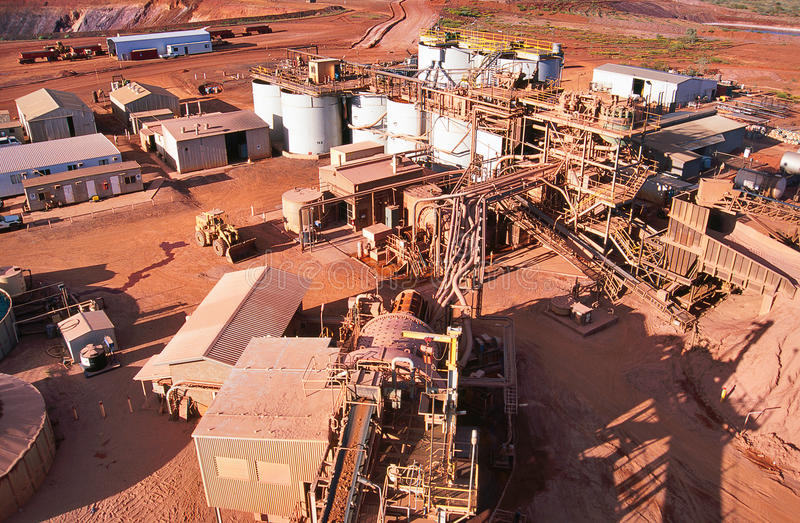 Gold Mining. View of Gold Mining processing plant in the desert of Australia royalty free stock photos