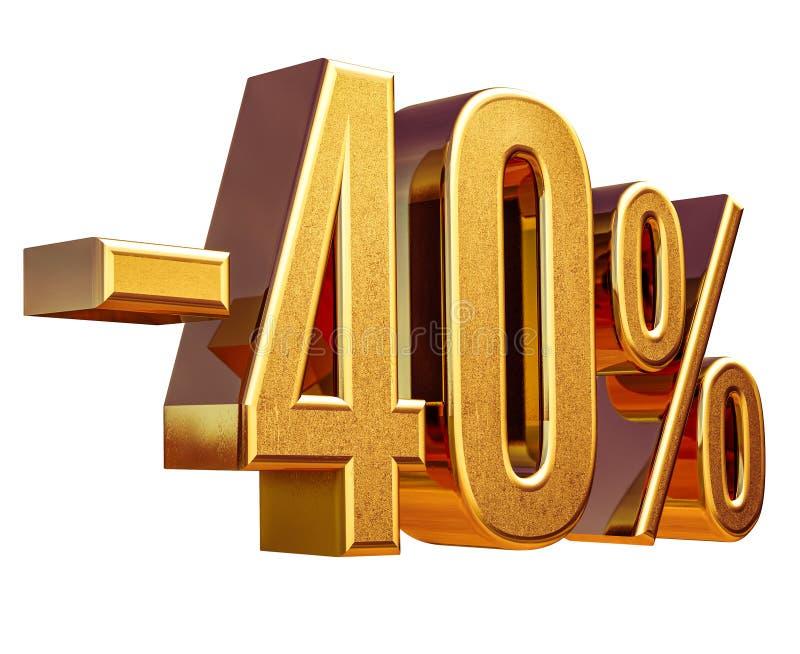 Gold -40%, minus des vierzig Prozent-Rabatt-Zeichens lizenzfreies stockfoto