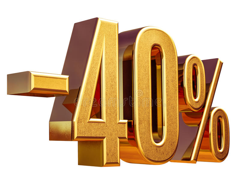 Gold -40%, Minus Forty Percent Discount Sign royalty free stock photo