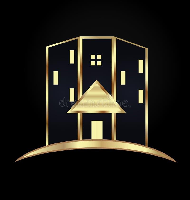 Gold modern house building icon. Design illustration stock illustration