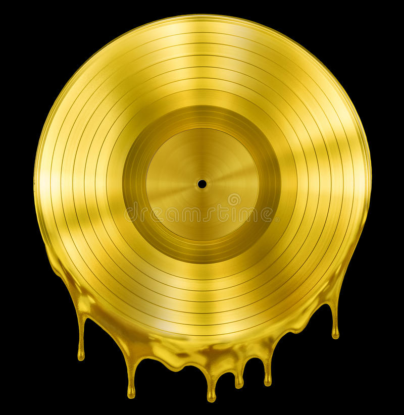 Gold molten or melted record music disc award. Gold molten record music disc award isolated on black stock image