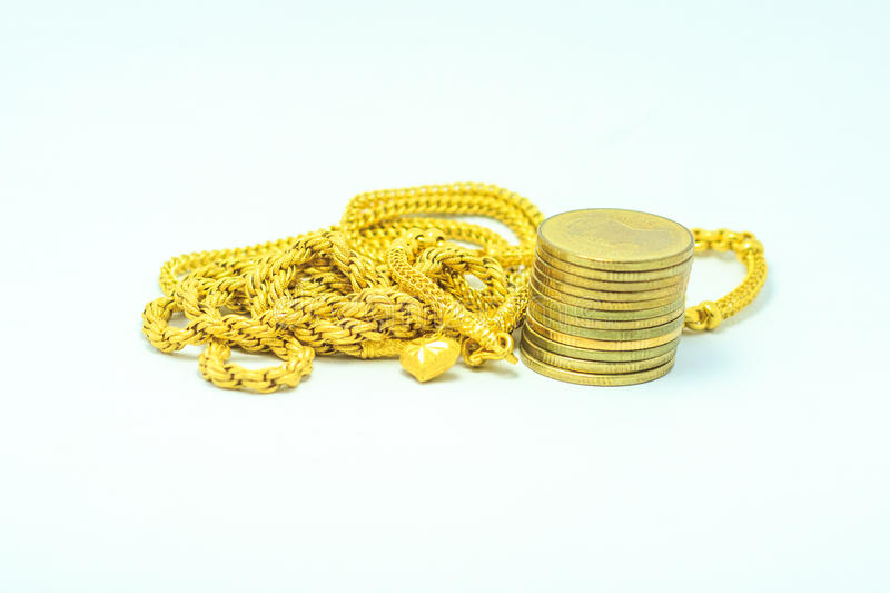 Gold and money. Gold a aid argent cash chips circulating deposit dividend dough fund gold grant in inflation invesment stock photography