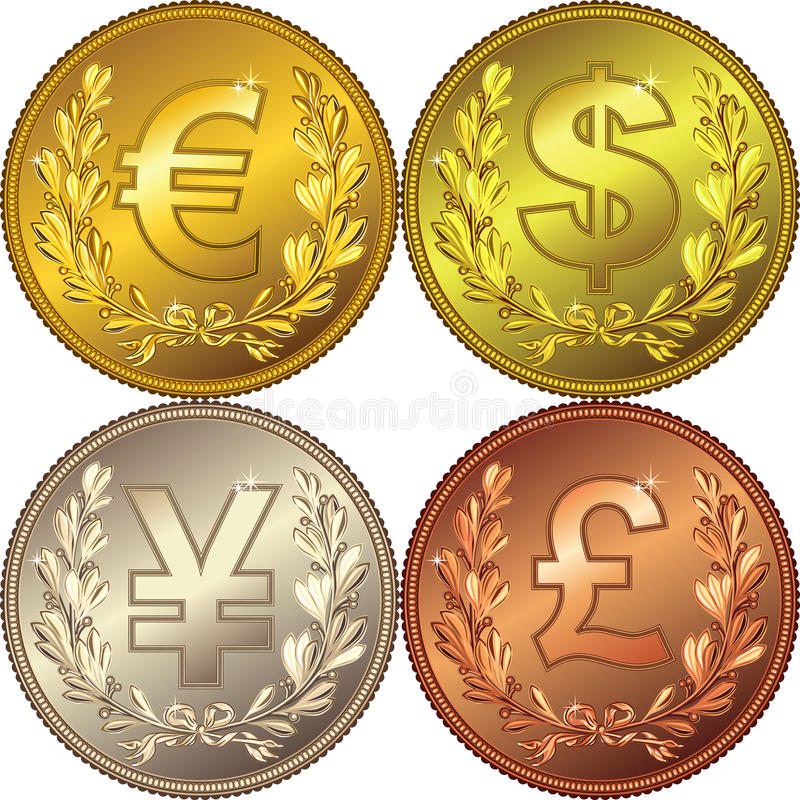 Gold Money coin with currencies stock illustration