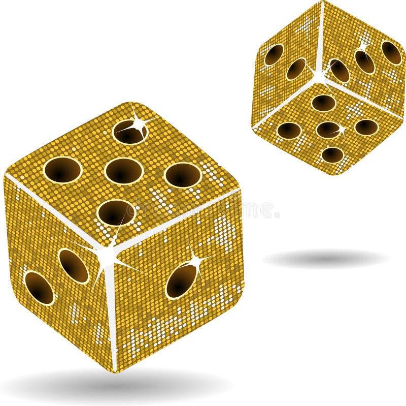 Gold mosaic dice and shadows stock illustration