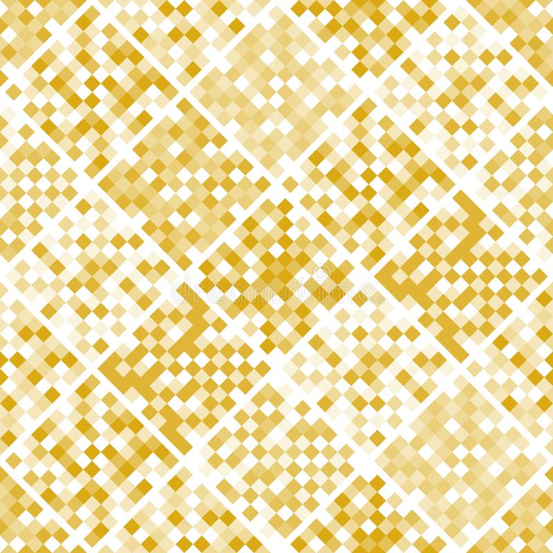 Gold mosaic seamless pattern from squares. Patchwork design. vector illustration