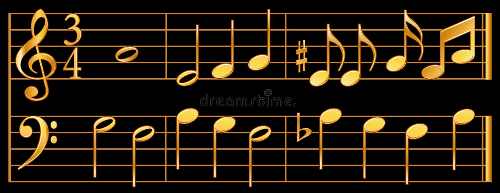 Gold Music Notes, Black Background Stock Photos