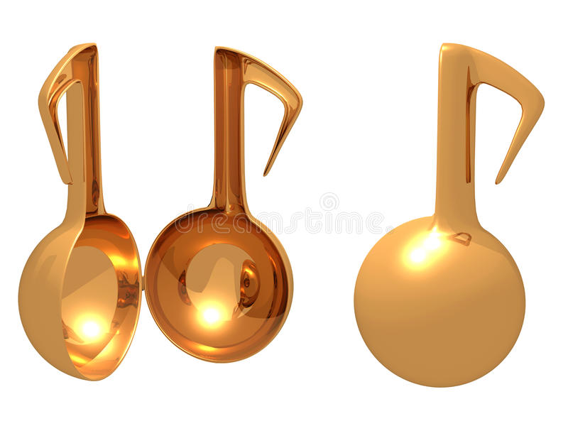Gold music toy open. This raster is isolated gold color music toy decoration and container open in white color background stock illustration