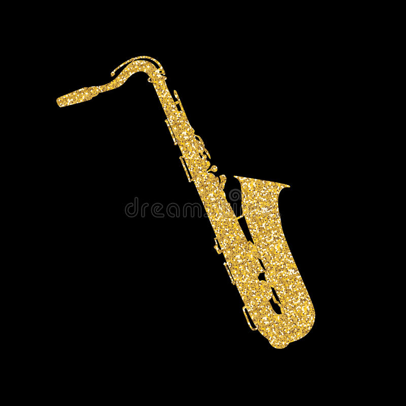 Gold Musical Instrument Saxophone that Plays Jazz Music Direction. Vector Illustration. stock illustration