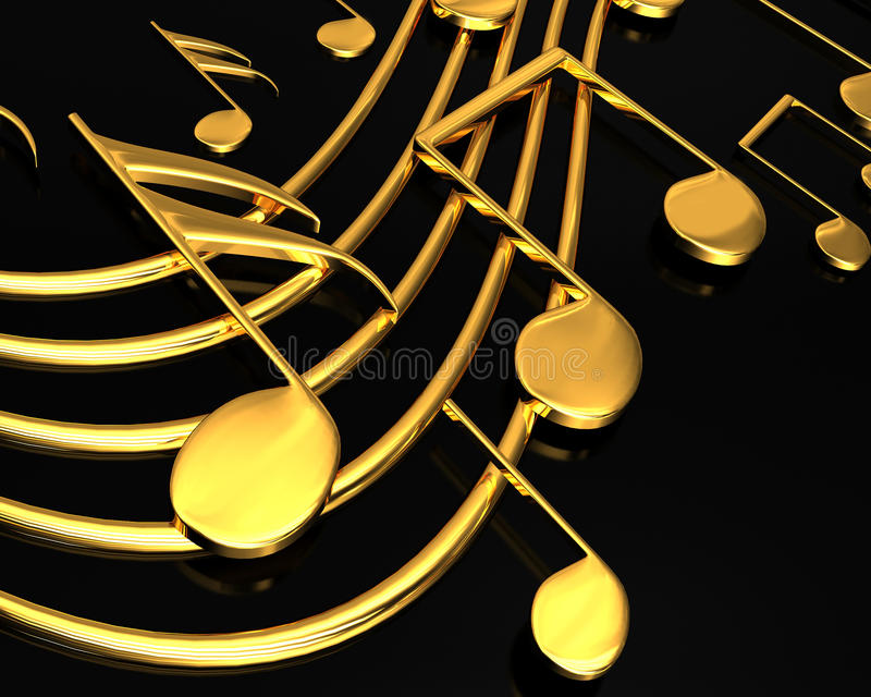 Gold Musical Notes Stock Illustration. Image Of Composer