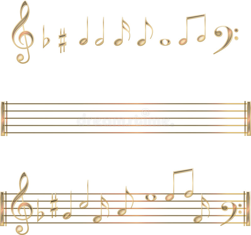 Gold musical notes symbols set