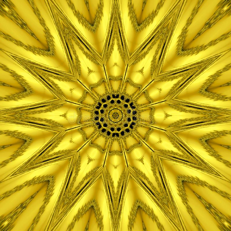 Gold mythical kaleidoscope, gold star light effect stock images