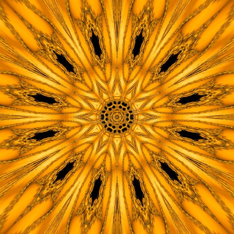 Gold mythical kaleidoscope in form of gold sun mandala, geometric fractal. Gold mythical kaleidoscope in form of gold sun mandala royalty free stock photos