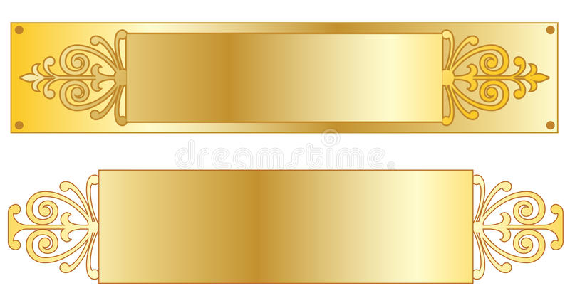 Gold Nameplates. Metallic rectangle gold nameplates with flourishes and copy space for a business or executive name address or decorative accent royalty free illustration