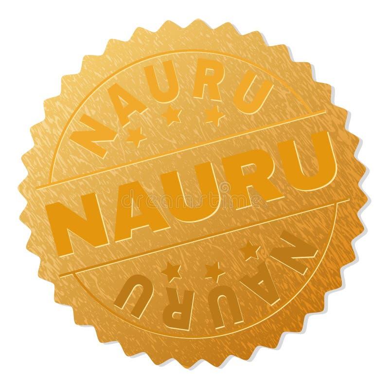Gold NAURU Medal Stamp vector illustration