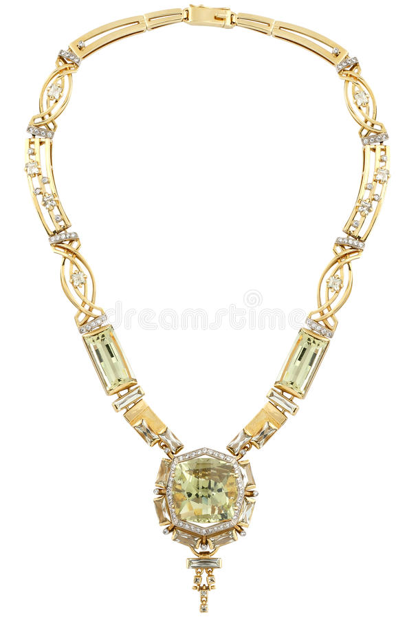 Gold necklace with diamonds royalty free stock photography